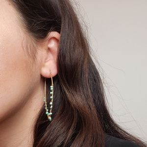 Gold and turquoise beaded fancy earwire earrings